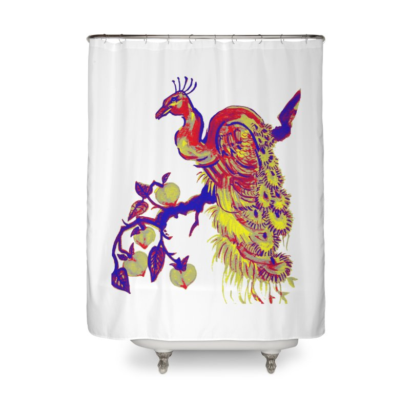 Primary Color Peacock in a Peach Tree Home Shower Curtain by The Art Shop of HiddenStash