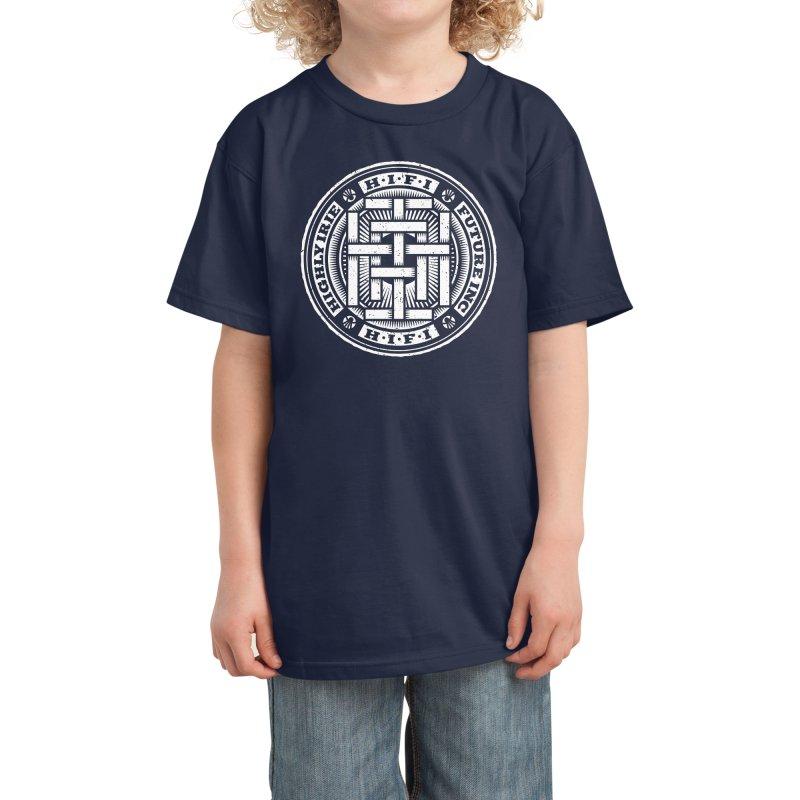 HIFI BADGE (white) Kids T-Shirt by Highly Irie Future Inc