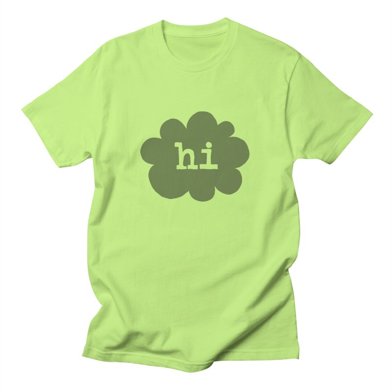 Cloud Hi (Smoke) in Men's Regular T-Shirt Neon Green by Hi Hello Greetings