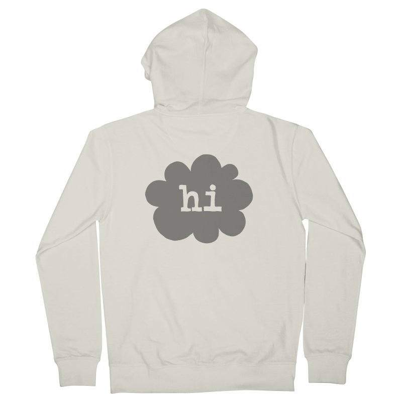 Cloud Hi (Smoke) Men's French Terry Zip-Up Hoody by Hi Hello Greetings