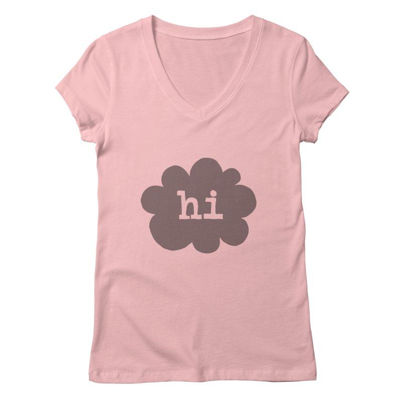 Cloud Hi (Smoke) Women's Regular V-Neck by Hi Hello Greetings