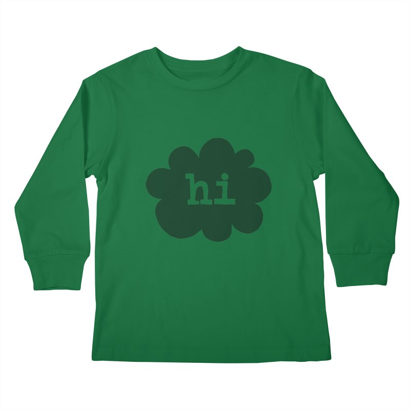 Cloud Hi (Smoke) Kids Longsleeve T-Shirt by Hi Hello Greetings
