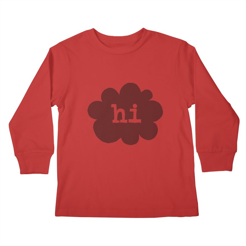 Cloud Hi (Smoke) Kids Longsleeve T-Shirt by Hi Hello Greetings