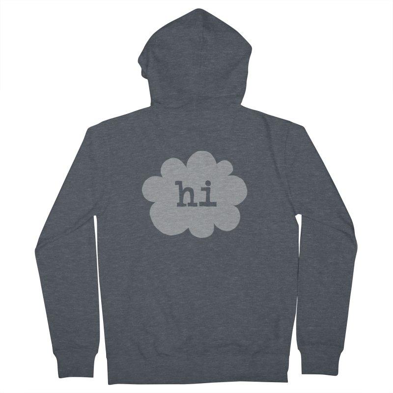 Cloud Hi (Fog) Men's Zip-Up Hoody by Hi Hello Greetings