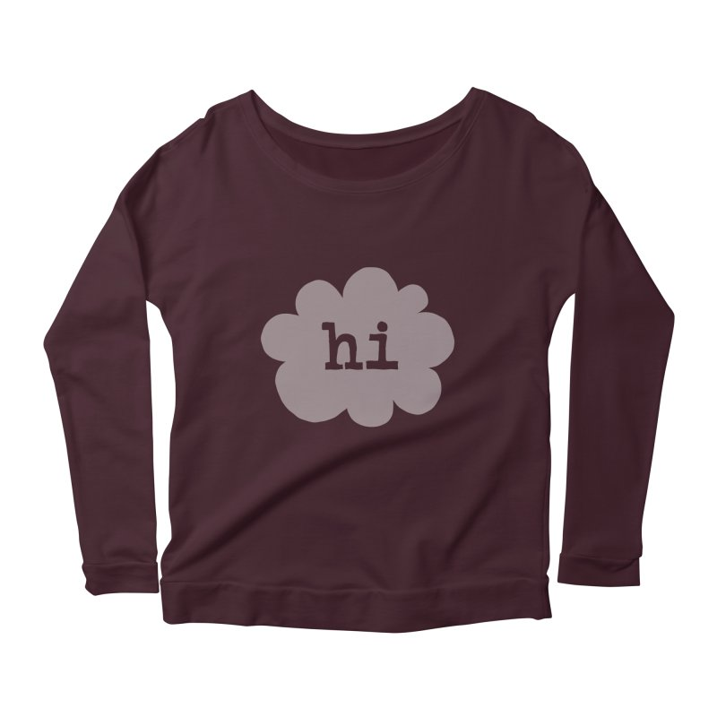Cloud Hi (Fog) Women's Longsleeve Scoopneck  by Hi Hello Greetings