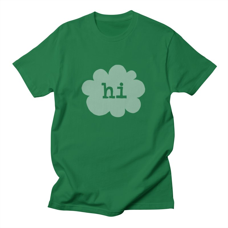 Cloud Hi (Fog) in Men's Regular T-Shirt Kelly Green by Hi Hello Greetings