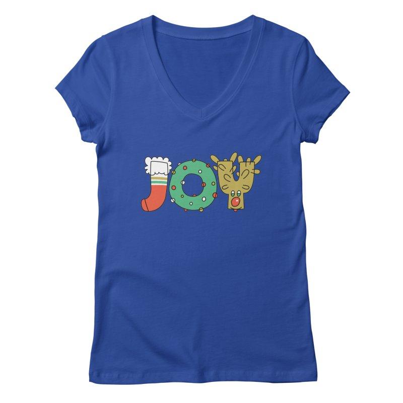 JOY (Christmas) Women's Regular V-Neck by Hi Hello Greetings