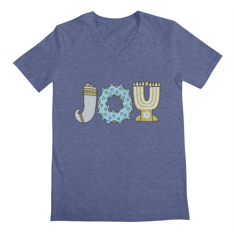 JOY (Hanukkah) Men's Regular V-Neck by Hi Hello Greetings
