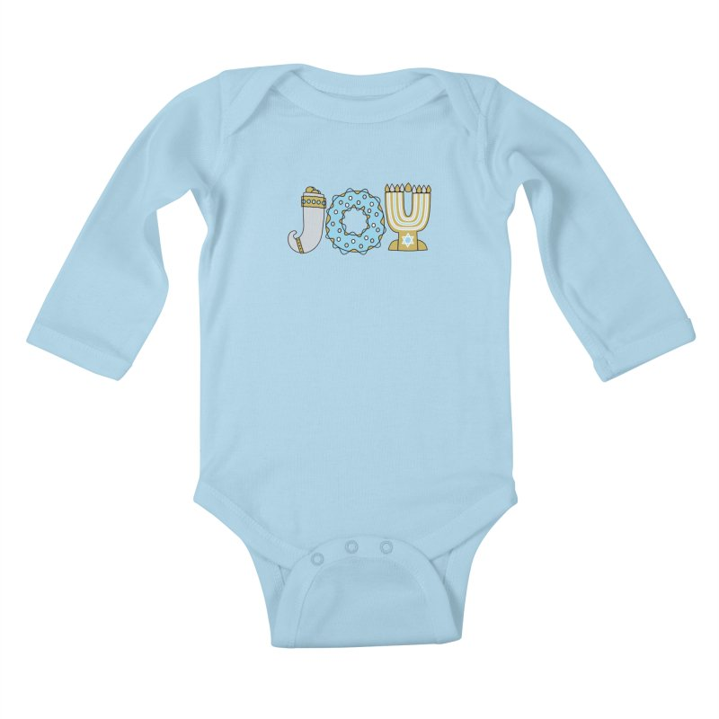 JOY (Hanukkah) Kids Baby Longsleeve Bodysuit by Hi Hello Greetings