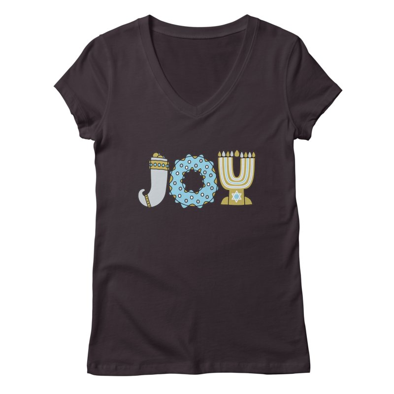JOY (Hanukkah) Women's V-Neck by Hi Hello Greetings