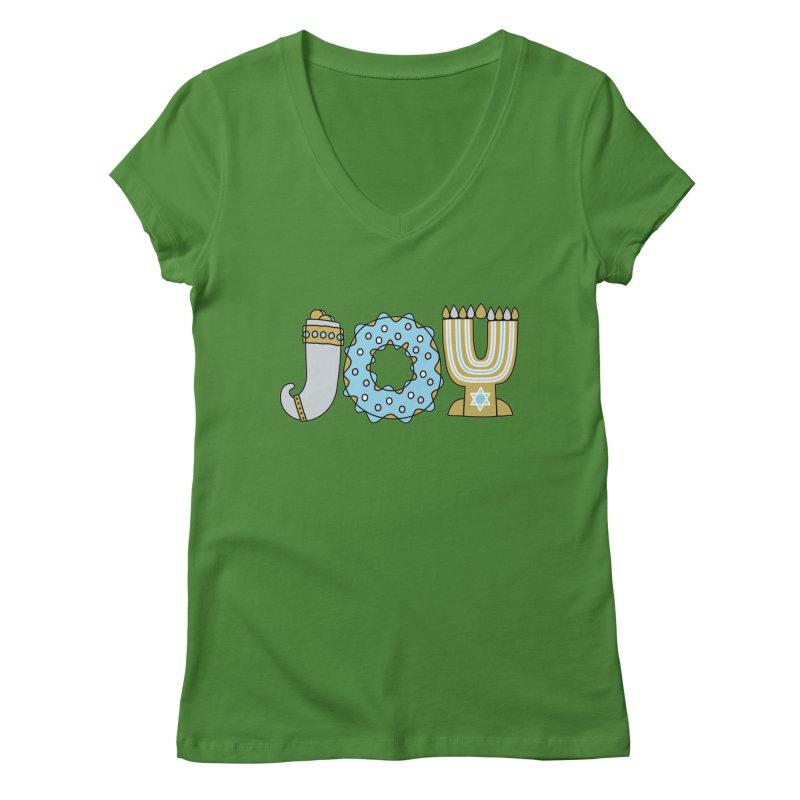 JOY (Hanukkah) Women's Regular V-Neck by Hi Hello Greetings