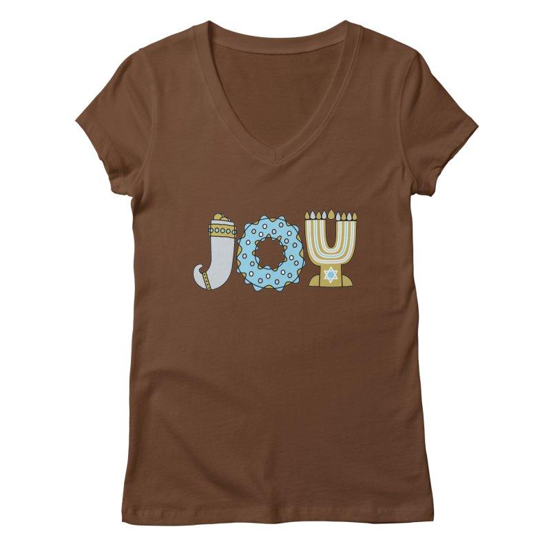 JOY (Hanukkah) Women's V-Neck by Hi Hello Greetings