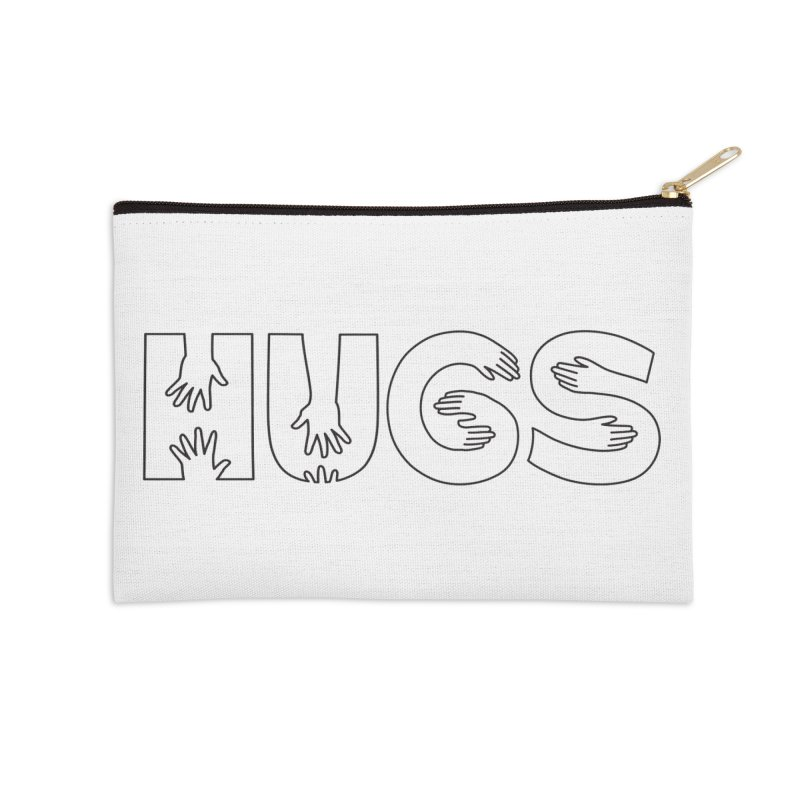 HUGS (B&W) Accessories Zip Pouch by Hi Hello Greetings