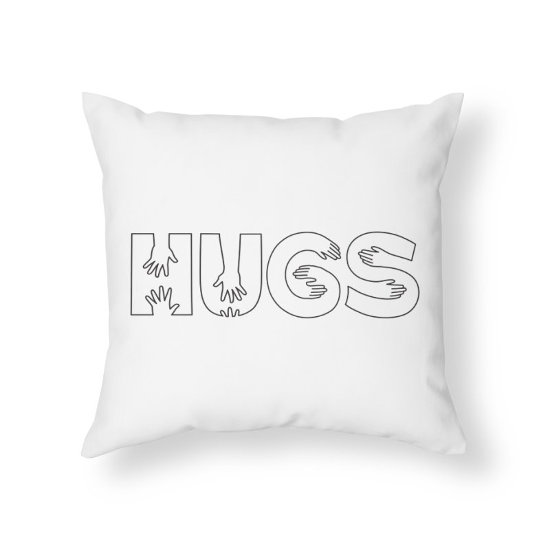 HUGS (B&W) Home Throw Pillow by Hi Hello Greetings