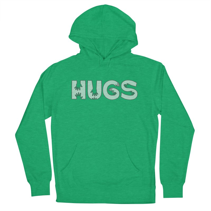 HUGS (B&W) Men's French Terry Pullover Hoody by Hi Hello Greetings