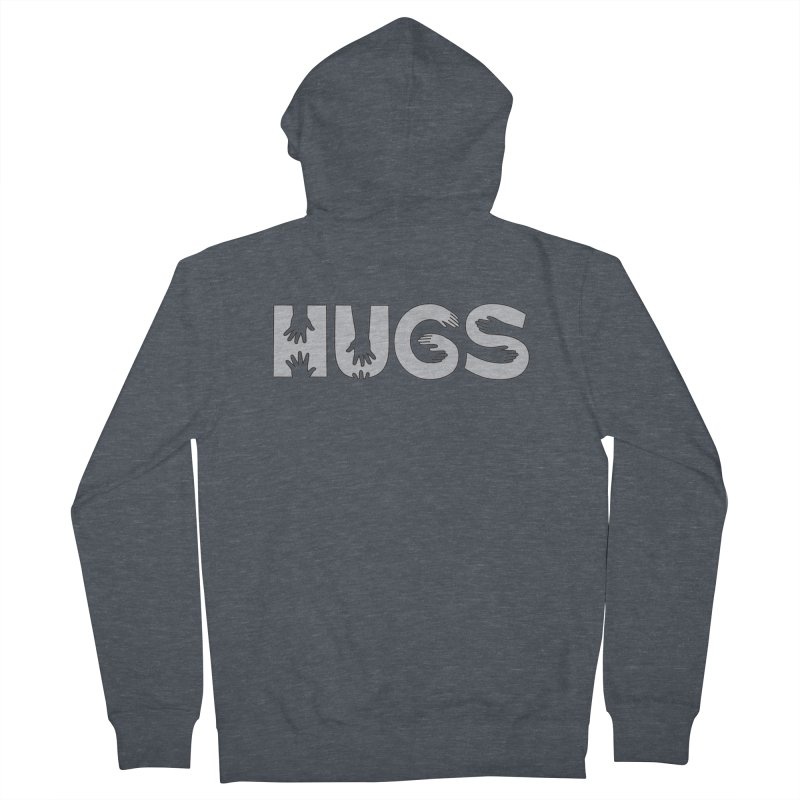 HUGS (B&W) Women's French Terry Zip-Up Hoody by Hi Hello Greetings