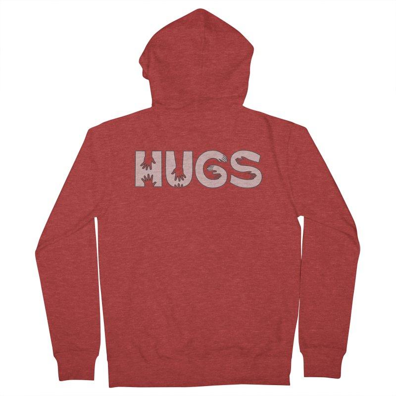 HUGS (B&W) Women's French Terry Zip-Up Hoody by Hi Hello Greetings