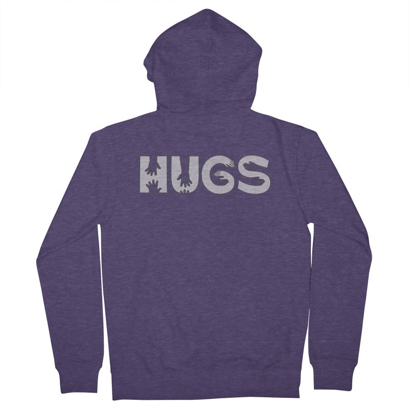 HUGS (B&W) Men's French Terry Zip-Up Hoody by Hi Hello Greetings