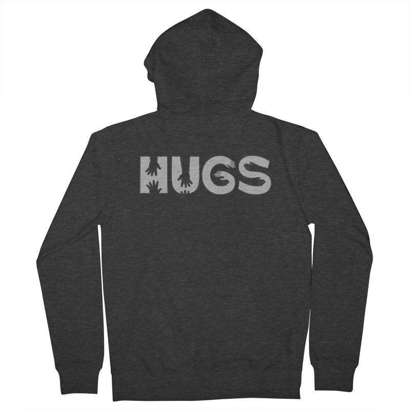 HUGS (B&W) Men's Zip-Up Hoody by Hi Hello Greetings