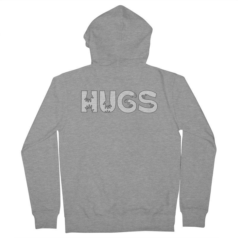 HUGS (B&W) Men's French Terry Zip-Up Hoody by Hi Hello Greetings