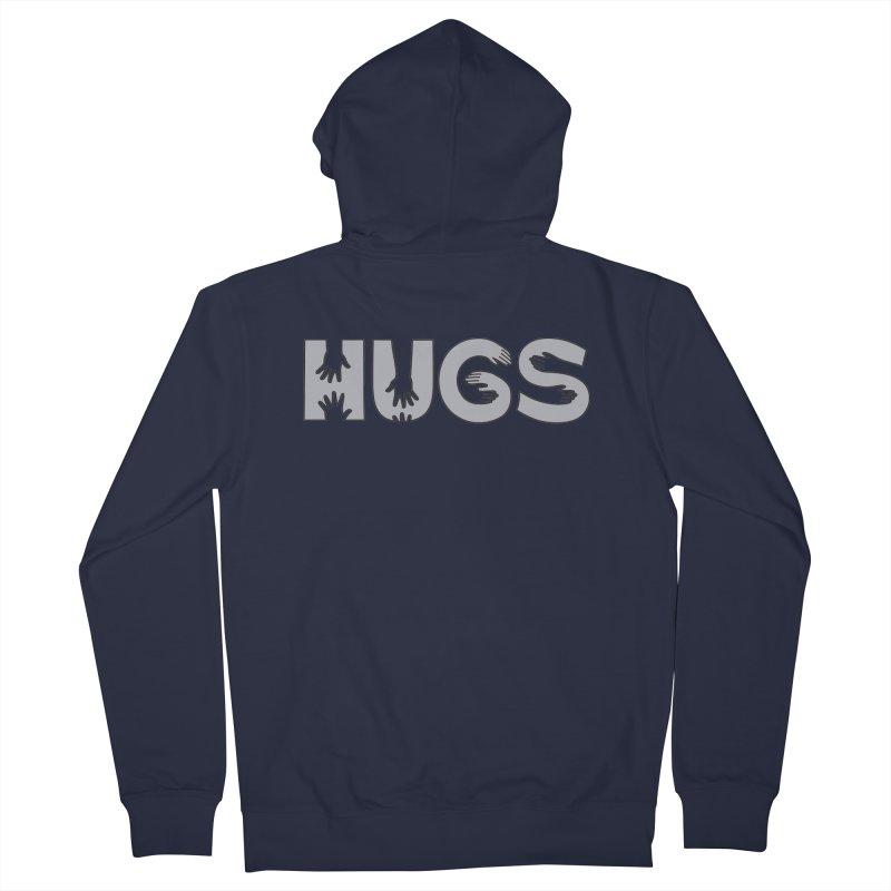 HUGS (B&W) Men's Zip-Up Hoody by Hi Hello Greetings