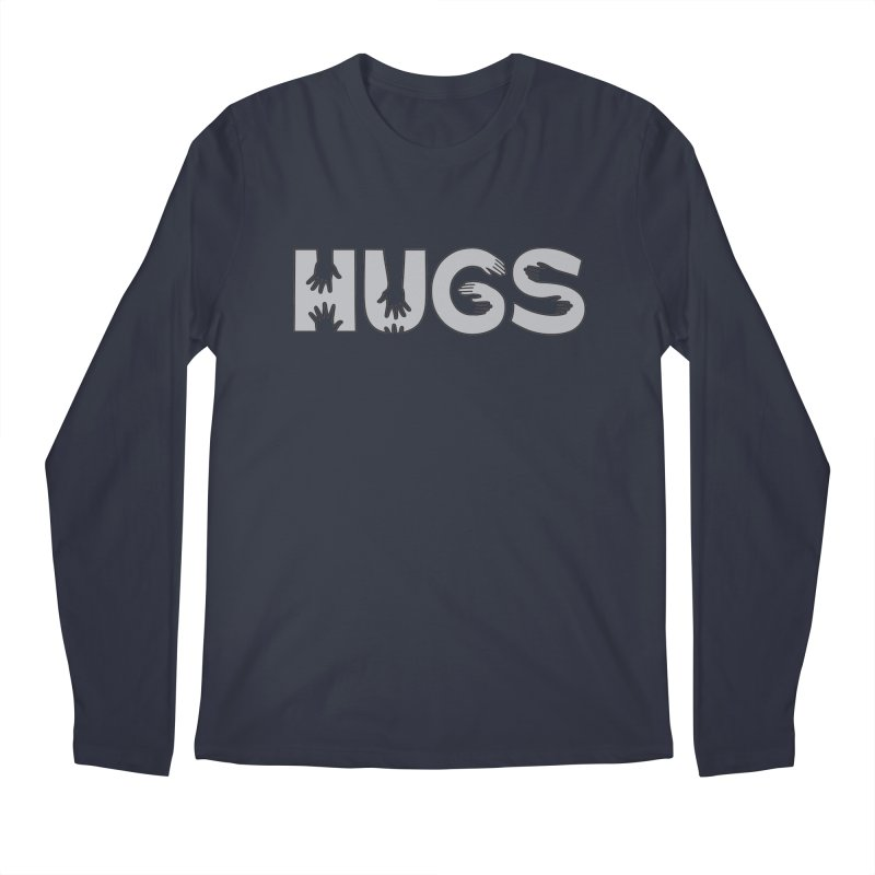 HUGS (B&W) Men's Regular Longsleeve T-Shirt by Hi Hello Greetings