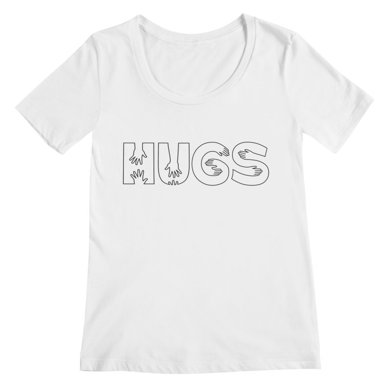 HUGS (B&W) Women's Regular Scoop Neck by Hi Hello Greetings