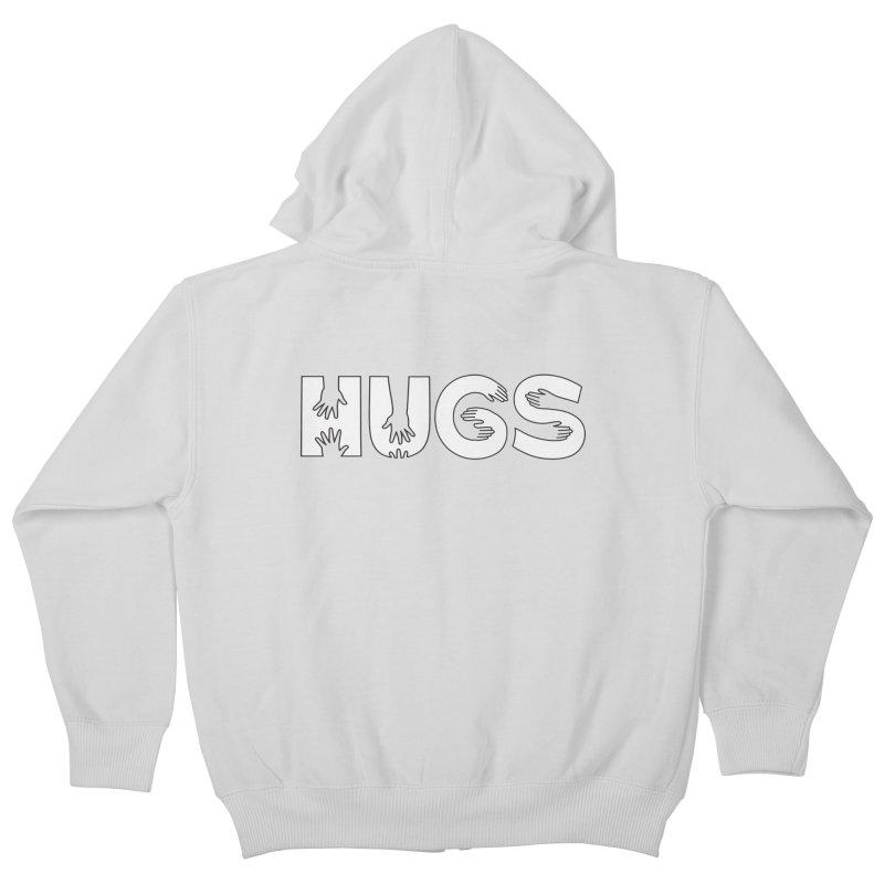 HUGS (B&W) Kids Zip-Up Hoody by Hi Hello Greetings