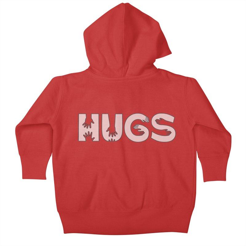 HUGS (B&W) Kids Baby Zip-Up Hoody by Hi Hello Greetings