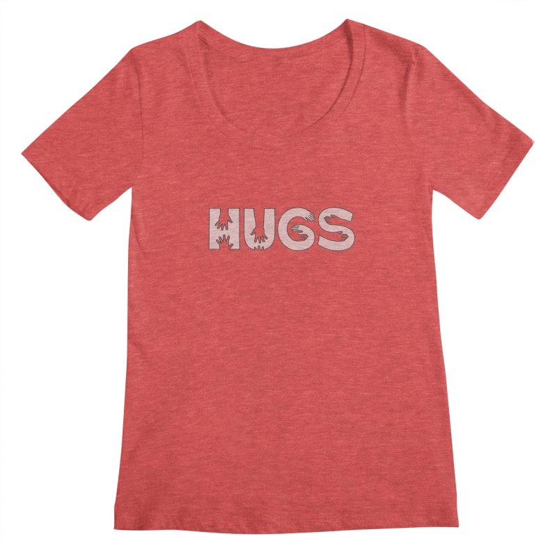 HUGS (B&W) Women's Regular Scoop Neck by Hi Hello Greetings