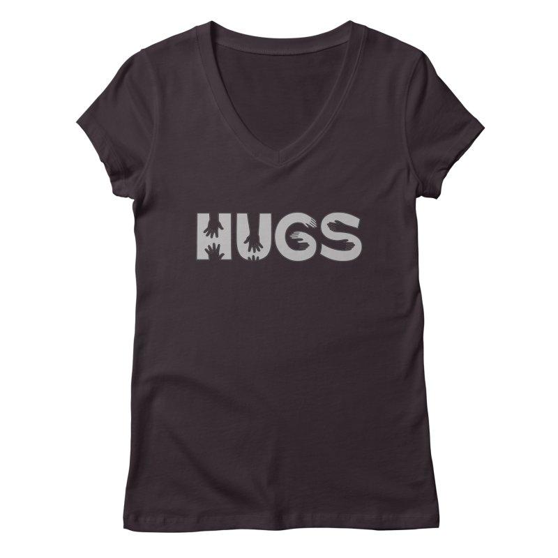 HUGS (B&W) Women's V-Neck by Hi Hello Greetings