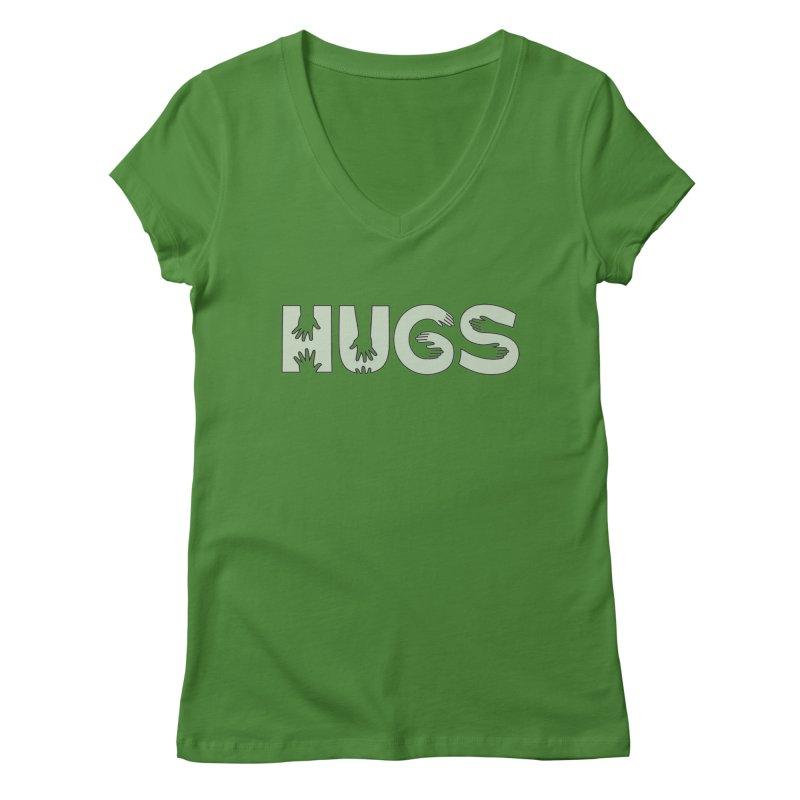 HUGS (B&W) Women's Regular V-Neck by Hi Hello Greetings