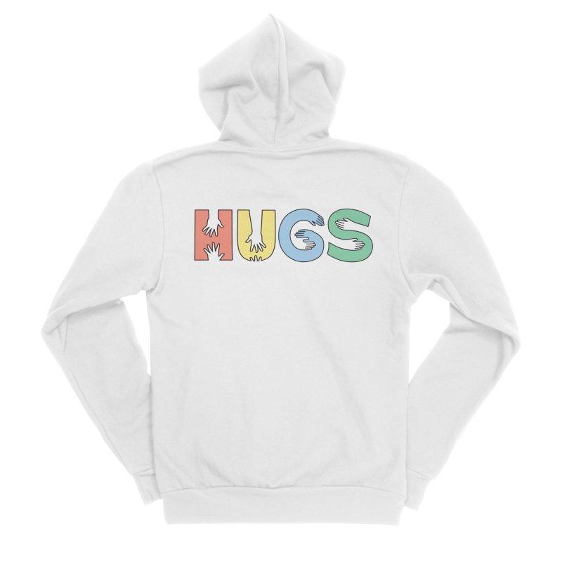 HUGS (Color) Men's Sponge Fleece Zip-Up Hoody by Hi Hello Greetings