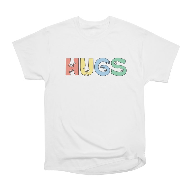 HUGS (Color) in Men's Heavyweight T-Shirt White by Hi Hello Greetings