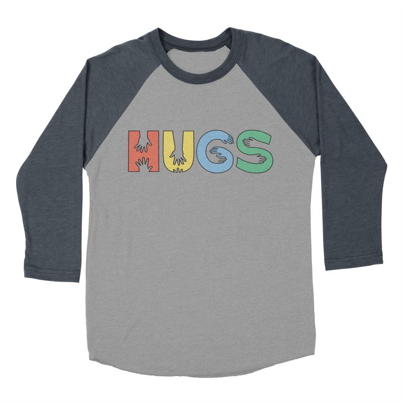 HUGS (Color) Men's Baseball Triblend Longsleeve T-Shirt by Hi Hello Greetings