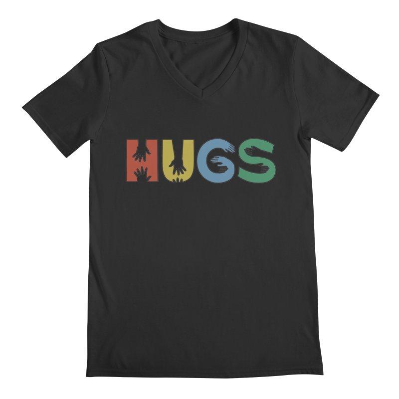 HUGS (Color) Men's Regular V-Neck by Hi Hello Greetings