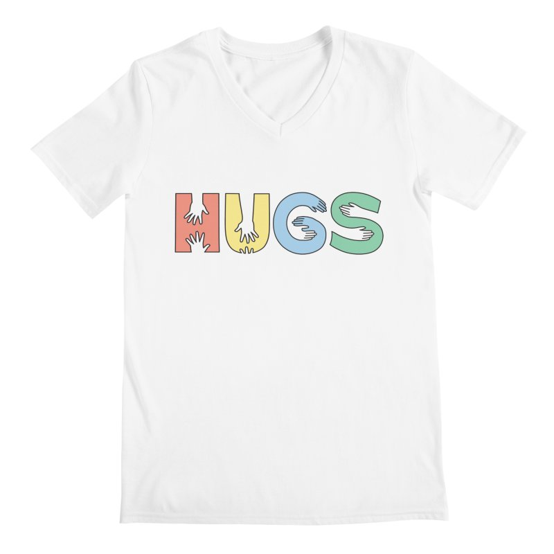 HUGS (Color) Men's Regular V-Neck by Hi Hello Greetings