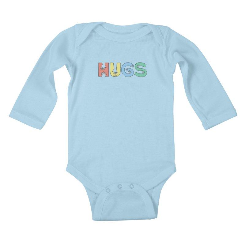 HUGS (Color) Kids Baby Longsleeve Bodysuit by Hi Hello Greetings