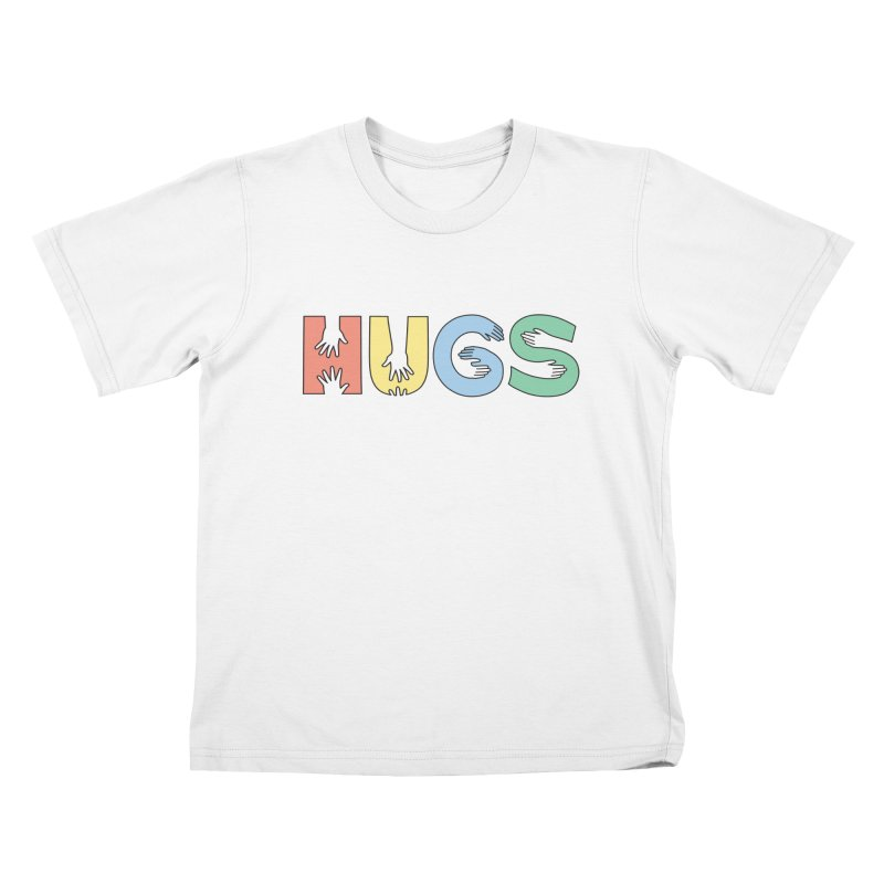HUGS (Color) in Kids T-Shirt White by Hi Hello Greetings