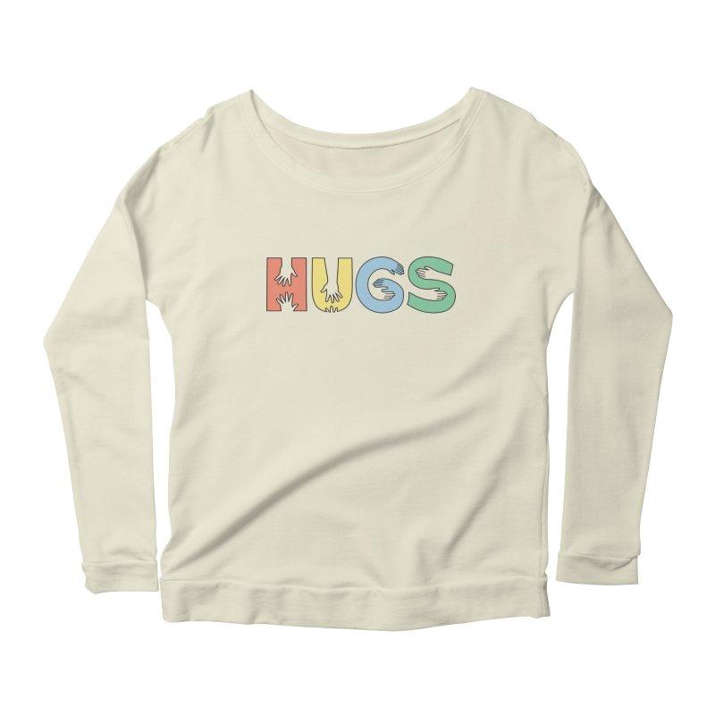 HUGS (Color) Women's Scoop Neck Longsleeve T-Shirt by Hi Hello Greetings