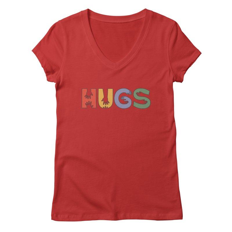 HUGS (Color) Women's Regular V-Neck by Hi Hello Greetings