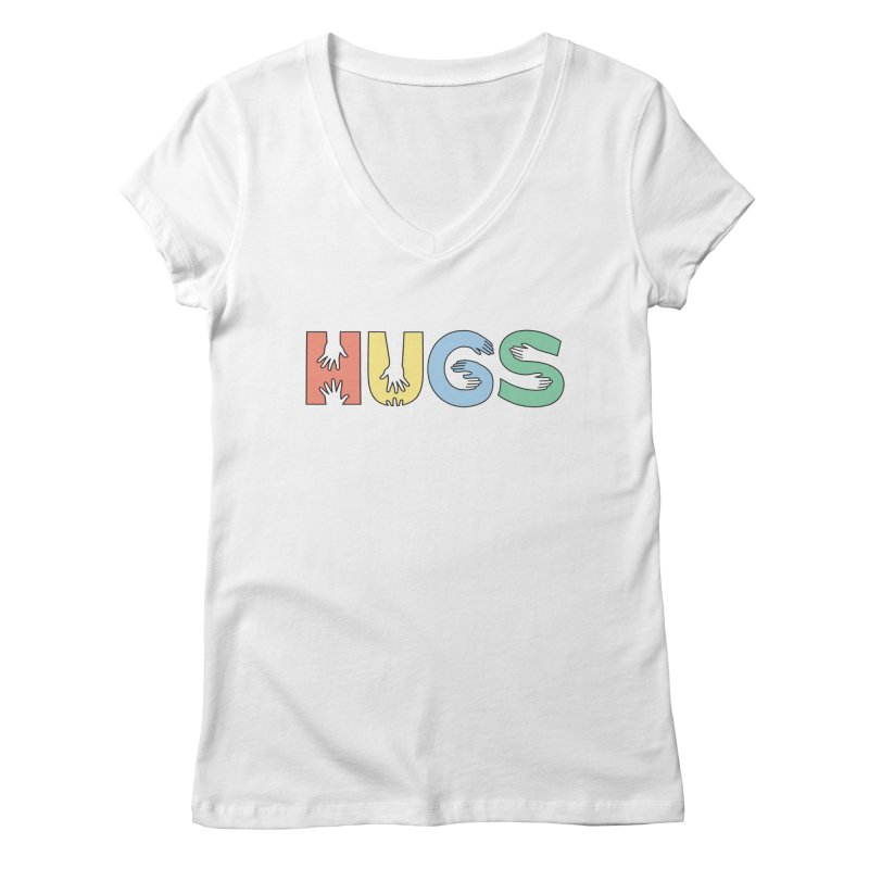 HUGS (Color) Women's Regular V-Neck by Hi Hello Greetings