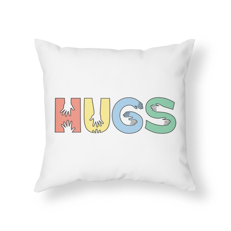 HUGS (Color) in Throw Pillow by Hi Hello Greetings