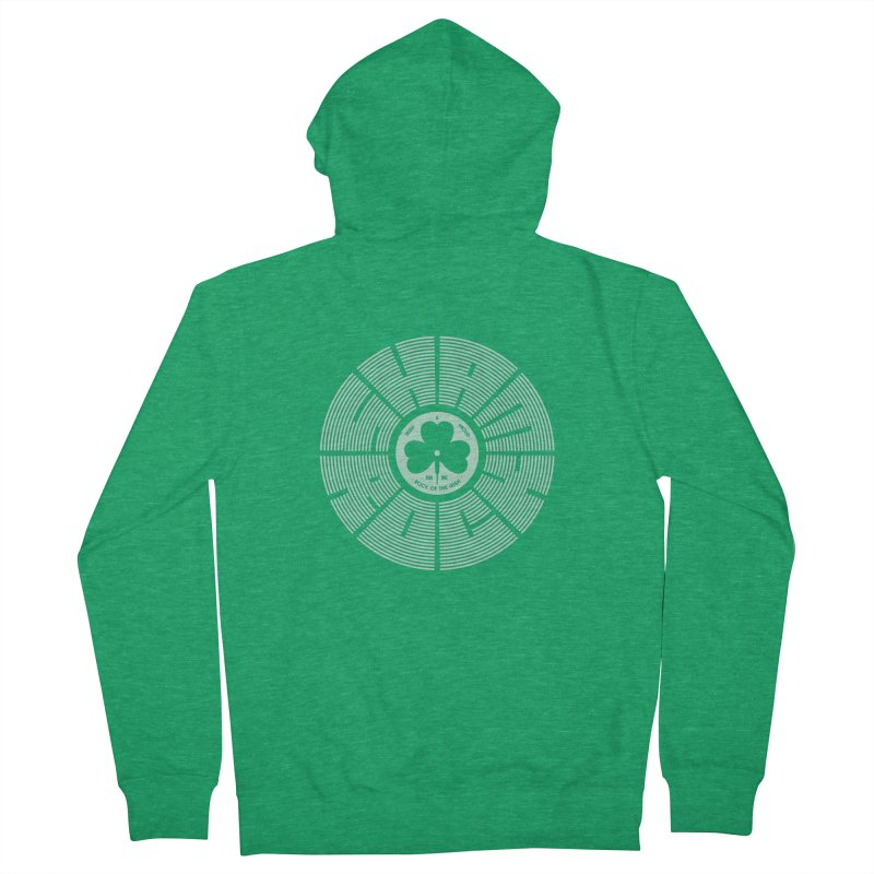 SHAMROCK (White) Men's Zip-Up Hoody by Hi Hello Greetings