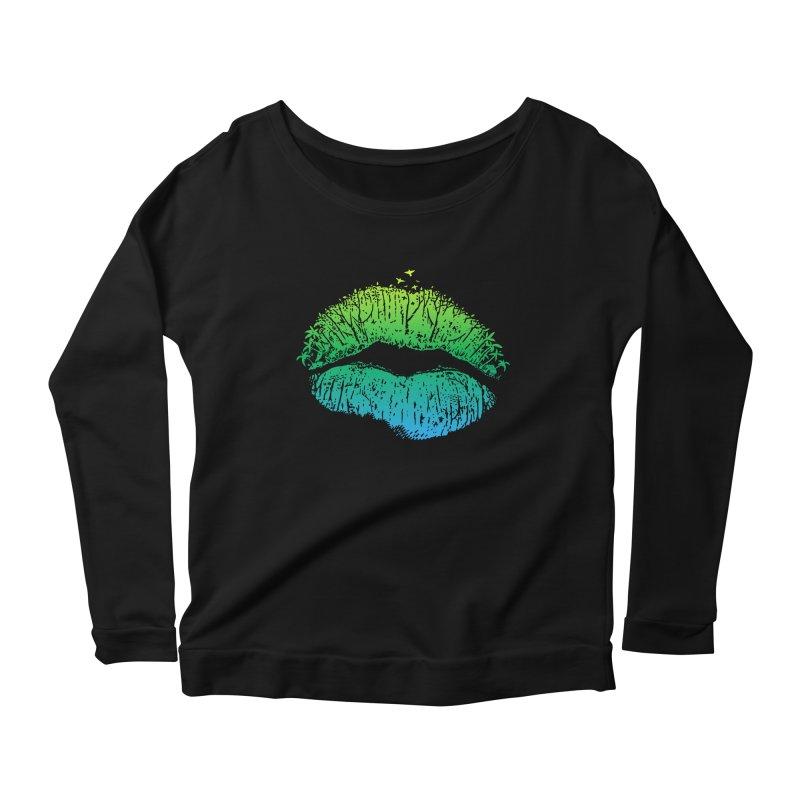 Kiss Island Women's Scoop Neck Longsleeve T-Shirt by Hi Hello Greetings
