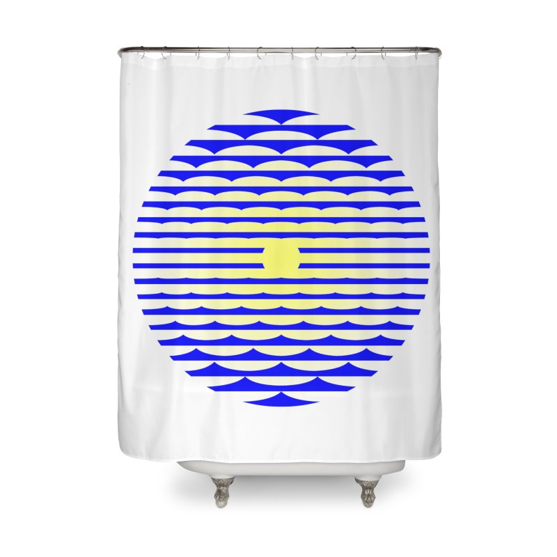 The Binding Light (BLUE/YELLOW) Home Shower Curtain by Hi Hello Greetings
