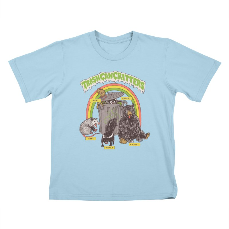 Trash Can Critters Kids T-Shirt by Hillary White