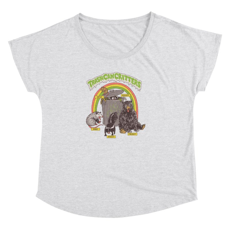 Trash Can Critters Women's Dolman Scoop Neck by Hillary White
