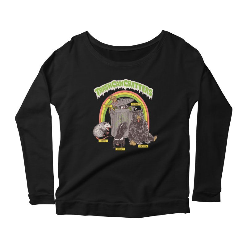 Trash Can Critters Women's Scoop Neck Longsleeve T-Shirt by Hillary White