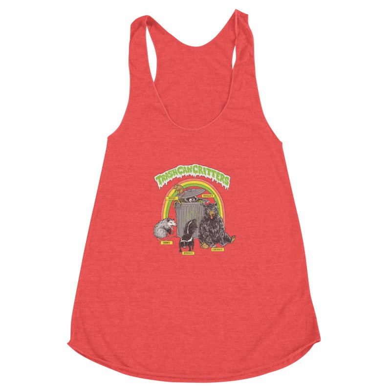 Trash Can Critters Women's Racerback Triblend Tank by Hillary White